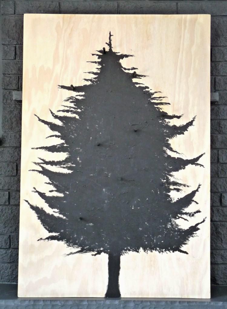 decoracion navideña escandinava madera forma cono arbol negro ideas