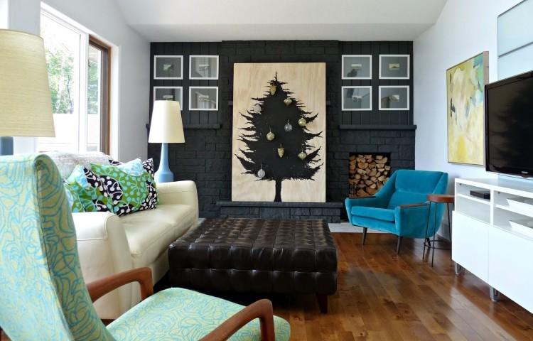 decoracion navideña escandinava pared ladrillo negra arbol ideas