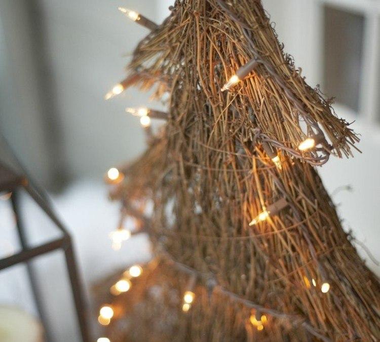 decoracion navidena luces arbol navidad madera exterior ideas