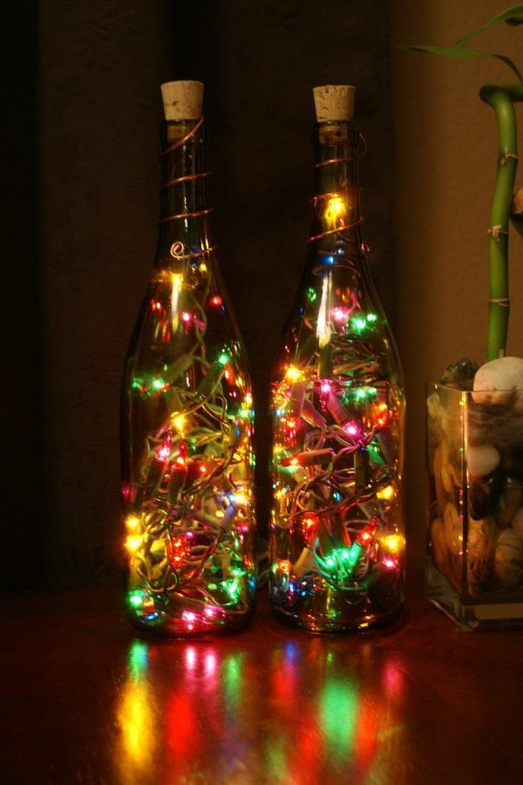 decoracion navidena luces botellas vino llenas ideas