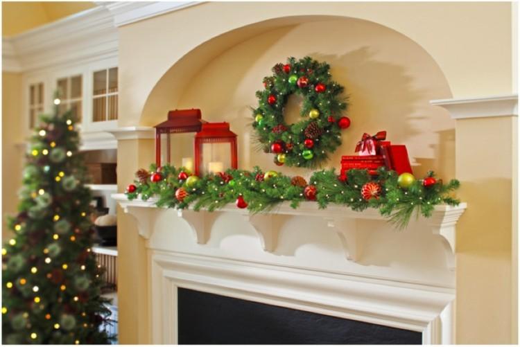 decoracion navidena luces estilo tradiciconal chimenea ideas