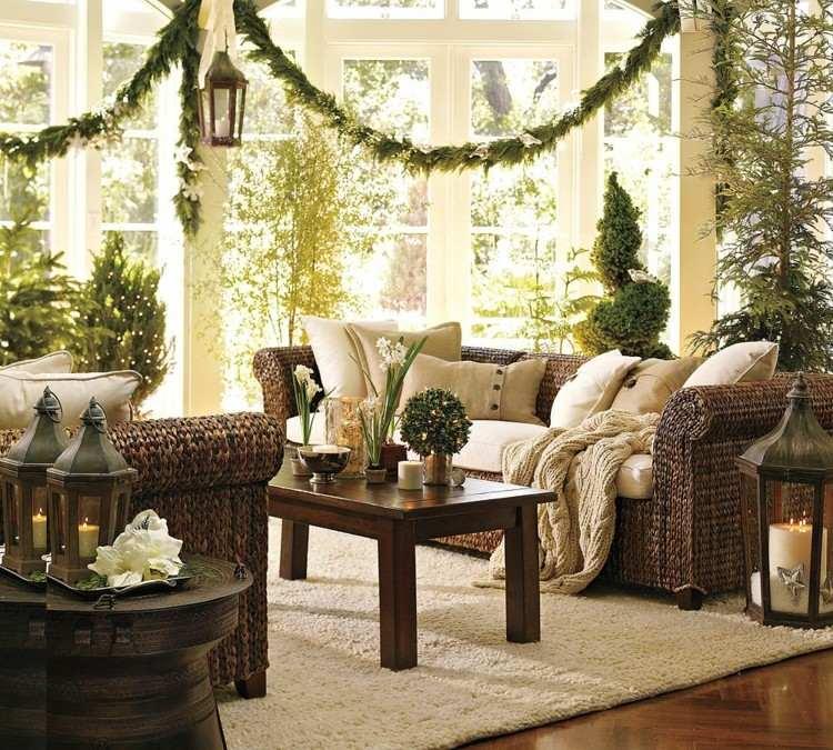 decoracion navidena luces muchas plantas verde ideas