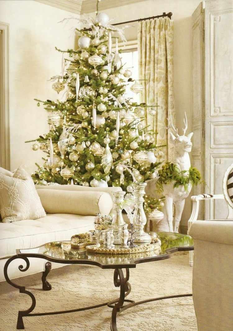 decoracion navidena luces salon elegante blanco arbol clasico ideas