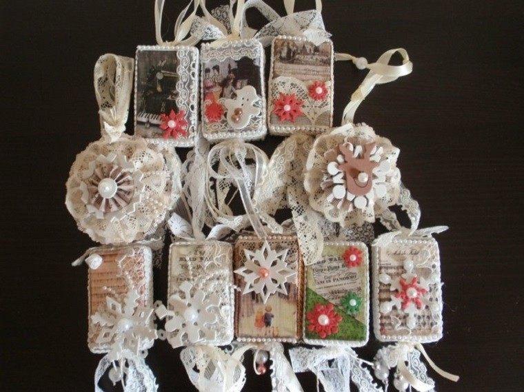decoracion navidena vintage copos nieve tela blanca ideas