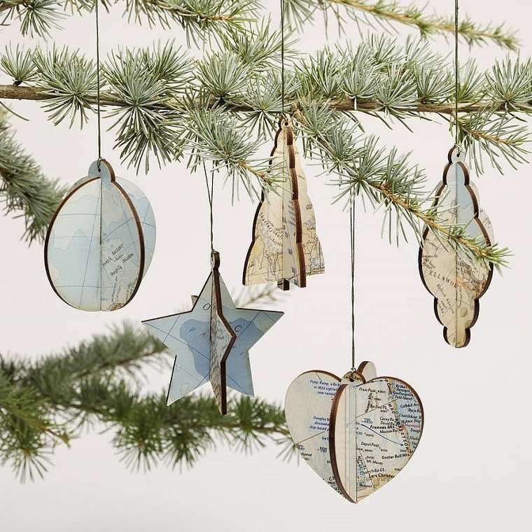 decoracion navidena vintage mapas colgar arbol navidad ideas
