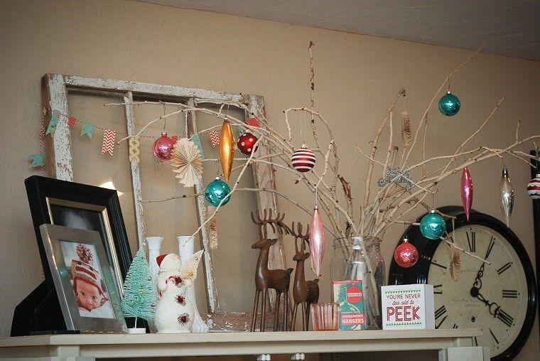 decoracion navideña vintage ramas arbol decorado ideas