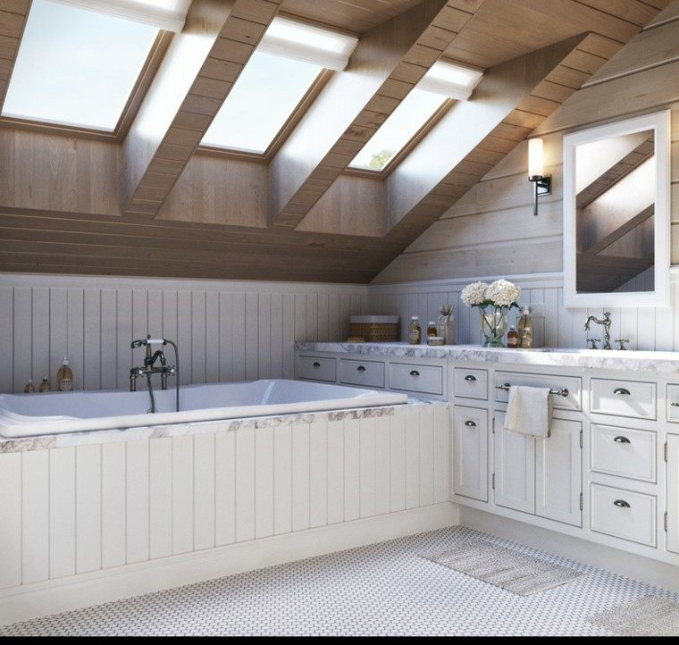 Baños Rusticos Madera:Cuartos de baño rusticos – 50 ideas con madera y piedra