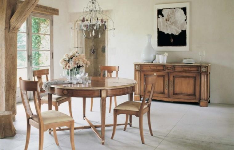 decoracion de interiores chimeneas rusticas:decoracion rustica comedor mesa redonda sillas madera ideas