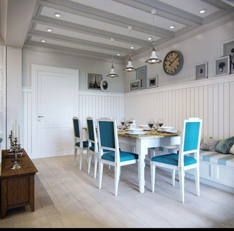 decoracion de interiores rusticos blanco:Aqua Dining Room Design