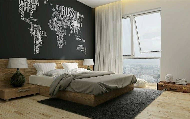 decoracion rustica dormitorio pared negra cama madera ideas