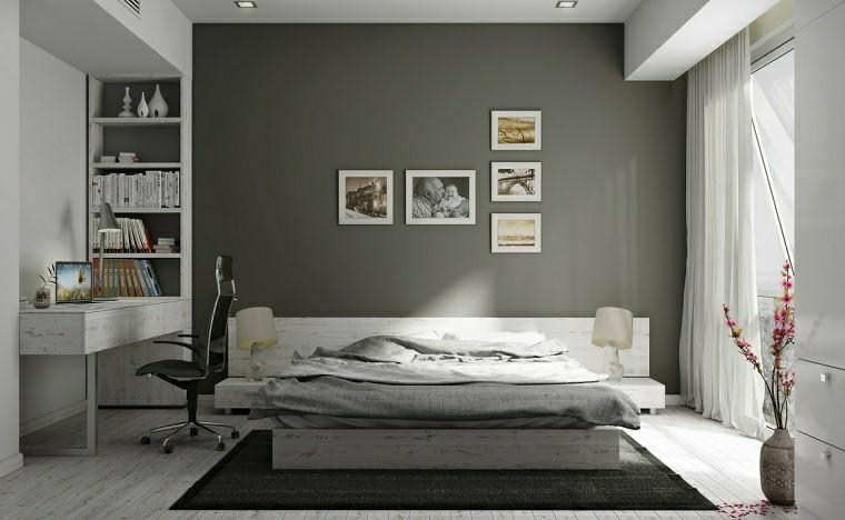decoracion de interiores habitaciones rusticas:decoracion rustica escritorio madera blanca pared gris ideas