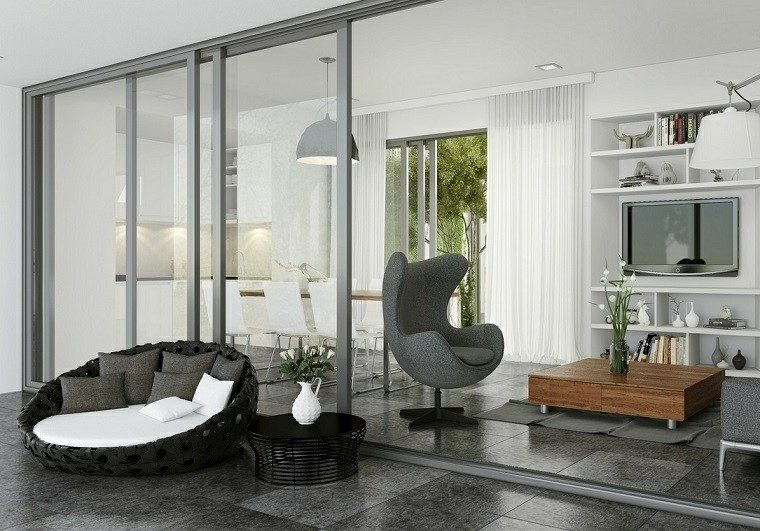 Decoracion rustica 50 ideas para interiores impresionantes - Decoracion salon gris y blanco ...