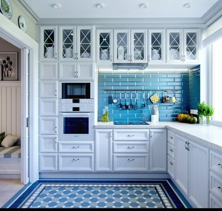 decoracion rustica pared cocina losas azules muebles blancos ideas