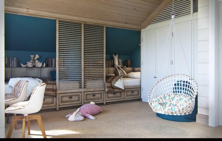 decoracion rustica pared color azul pared madera ideas