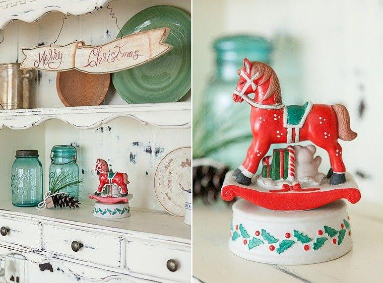 decoracion vintage navidad caballo rojo navideno ideas