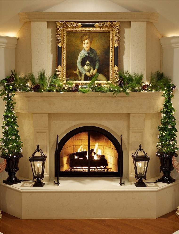 Decoracion navide a vintage 25 ideas brillantes for How to decorate a fireplace for christmas
