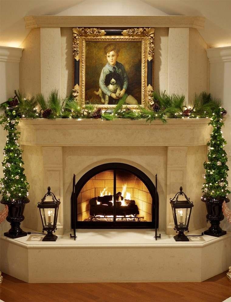 decoracion vintage navidad chimenea pinas pino ideas