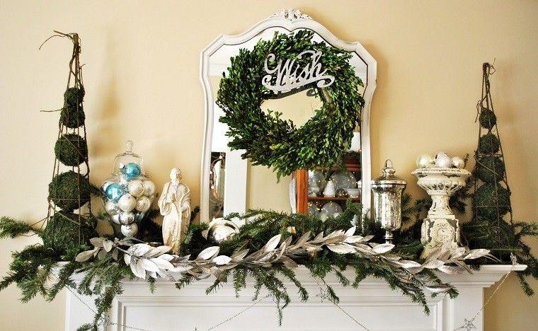 decoracion vintage navidad chimenea ramas arbol navidad ideas