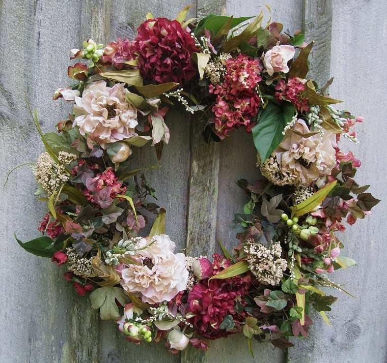 decoracion vintage navidad guirnalda flores frescas ideas