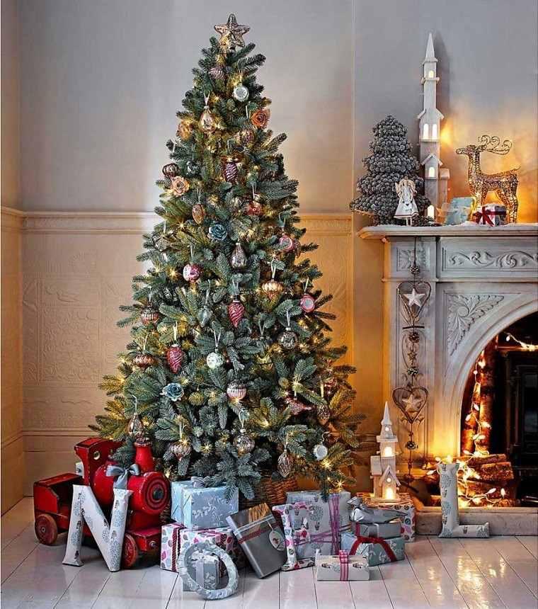 decoracion vintage navidad luces arbol chimenea ideas
