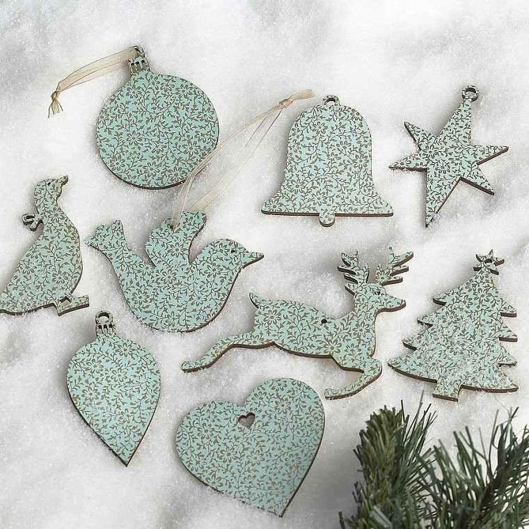 decoracion vintage navidad original azul ornamentos ideas