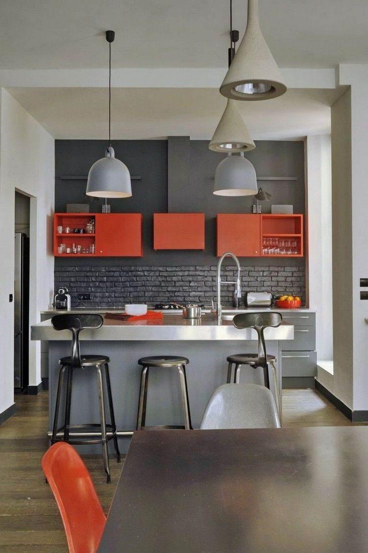 decoracion de cocinas diseño gris naranja