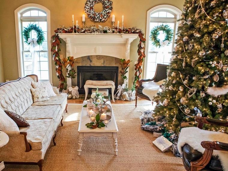 decorar habitacion navidad arbol grande muebles blancos salon ideas