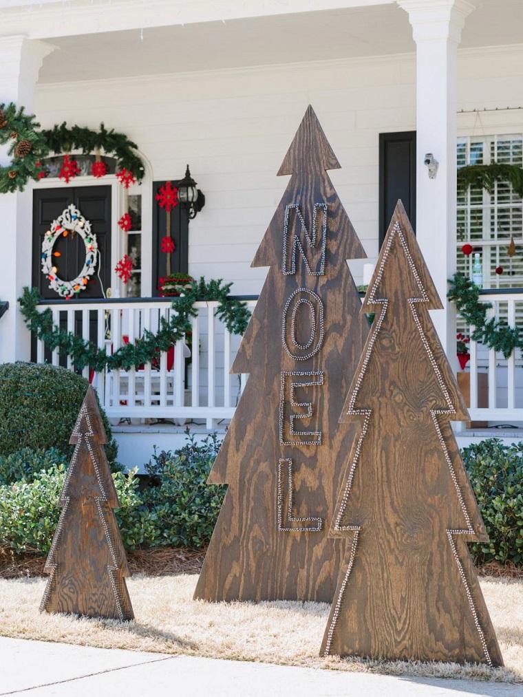 decorar habitacion navidad arboles madera exterior moderno ideas