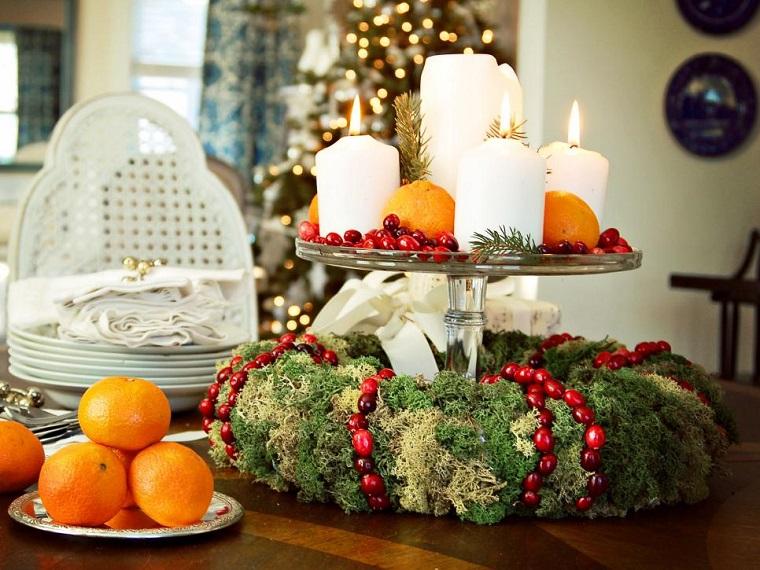 decorar habitacion navidad centro mesa mandarinas velas ideas