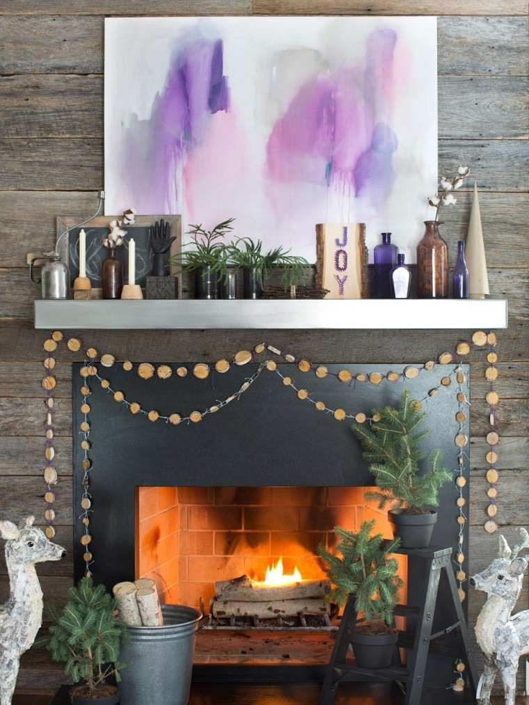 decorar habitacion navidad chimenea arbol macetas negras ideas