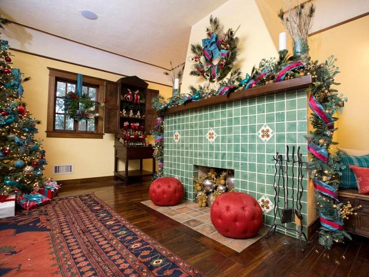 decorar habitacion navidad gurnaldas salon chimenea ideas