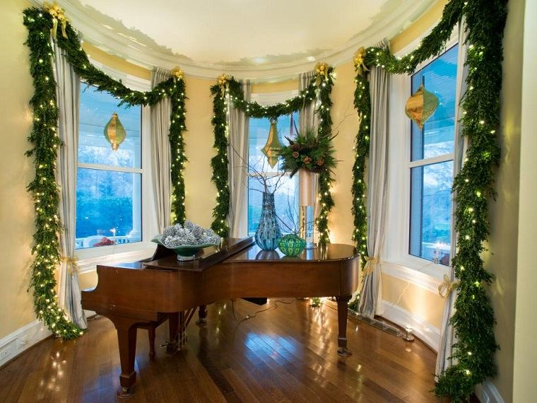 decorar habitacion navidad gurnaldas ventanas casa ideas