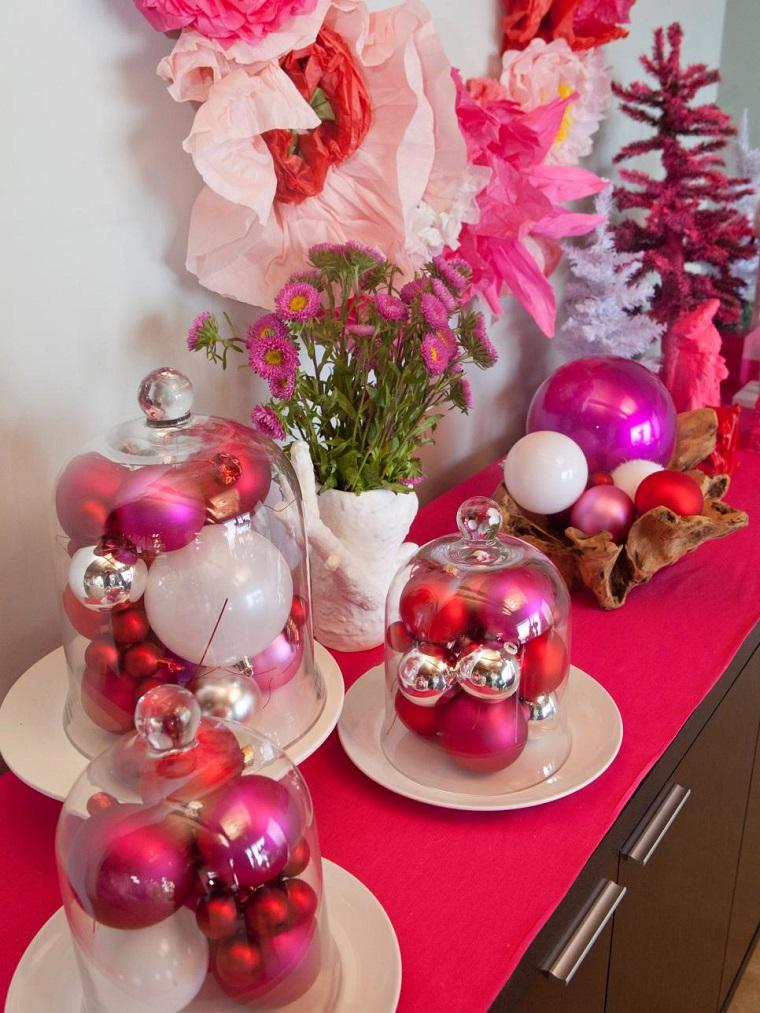 decorar habitacion navidad ideas originales bolas rosa rojas ideas