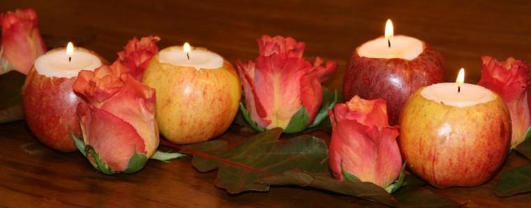 decorar mesa manzanas rosas velas
