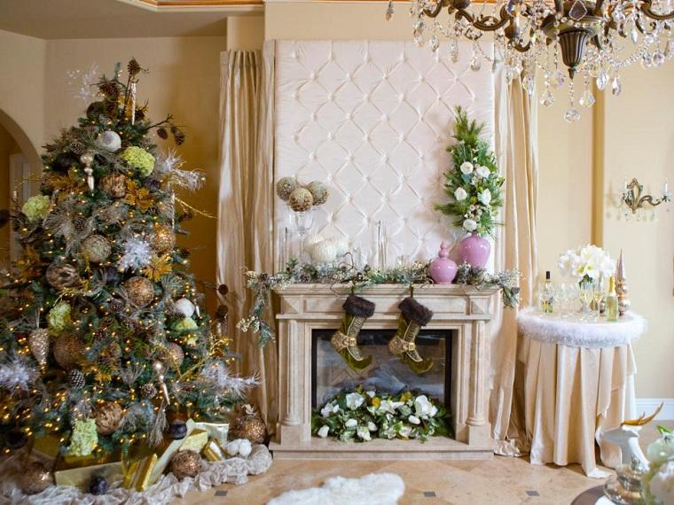 decorar navidad salon moderno chimenea arbol ideas
