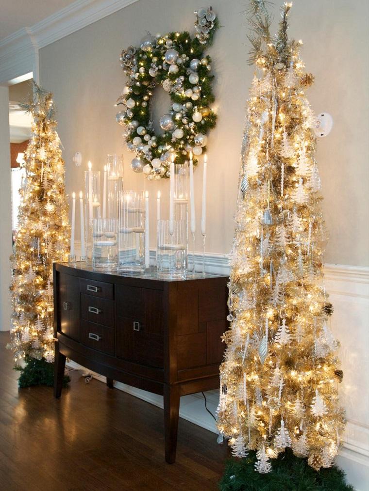 decorar navidad velas arboles guirnalda pared ideas