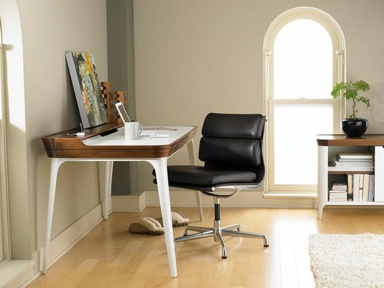 despacho minimalista sillon cuero