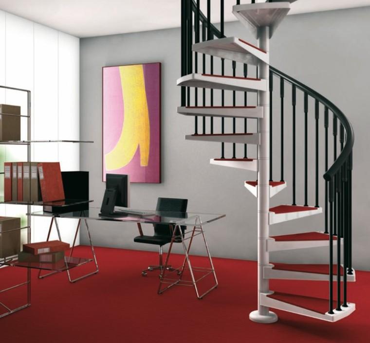 despacho escaleras caracol suelo rojo mesa