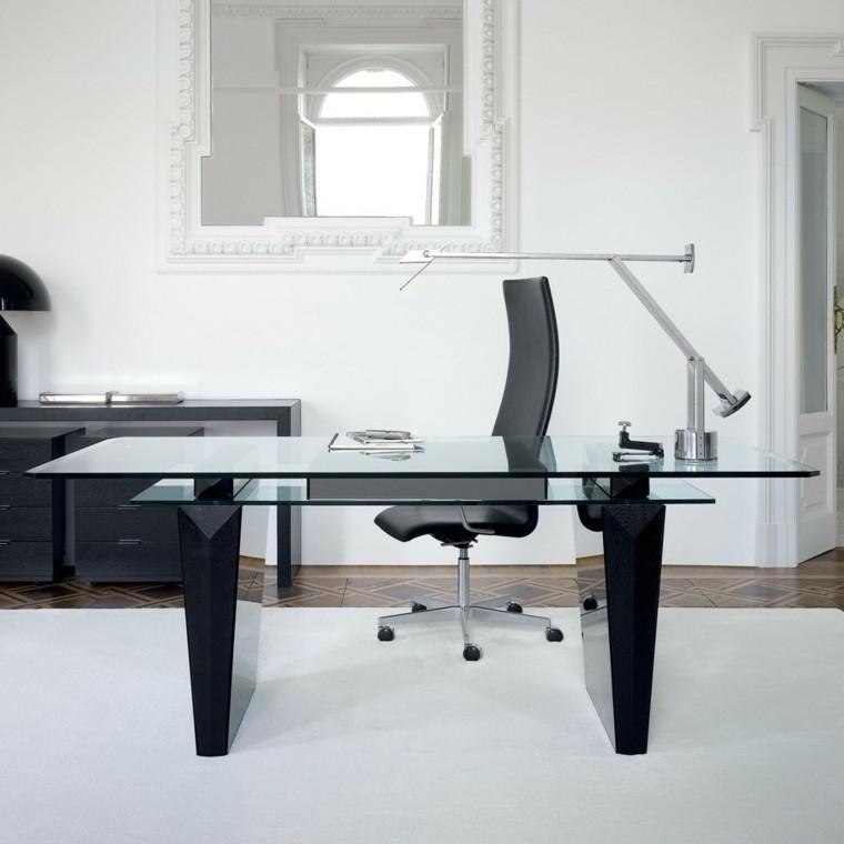 Oficinas y estudios de original dise o 50 ejemplos - Mesas de despacho de cristal ...