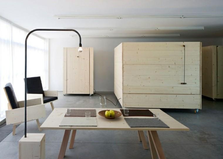 despacho estilo minimalista muebles madera