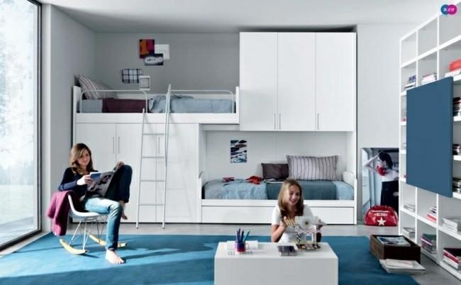 diseño cuarto blanco azul