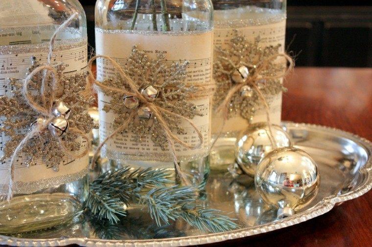 diseño adornos navideños creativo mesa plateado