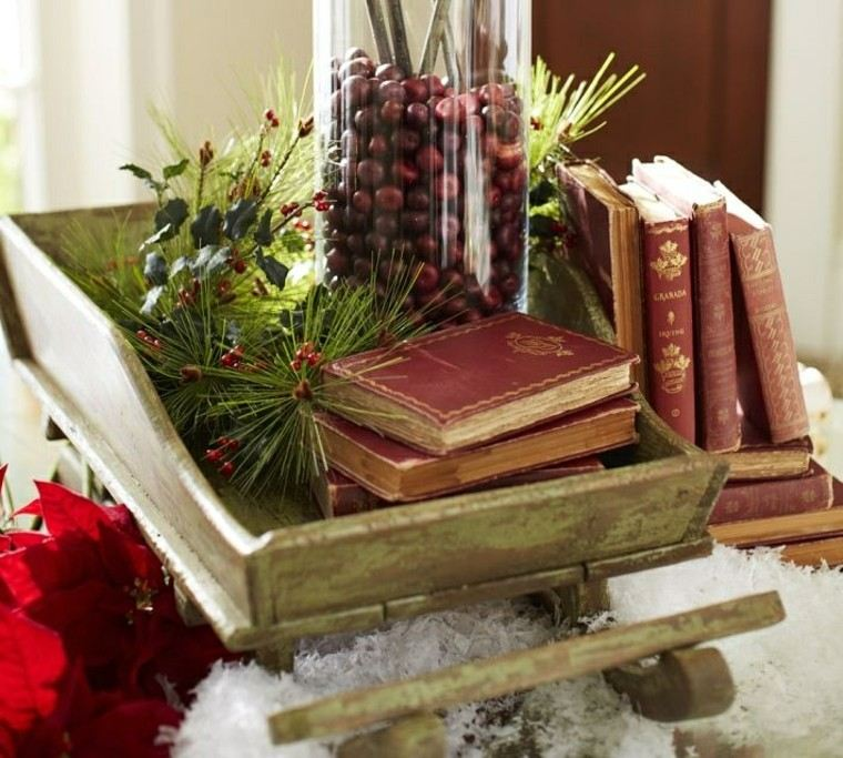 diseño adornos navideños libros trineo antiguo