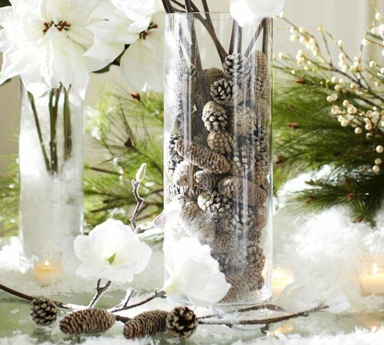 diseño adornos navideños natural conos vidrio