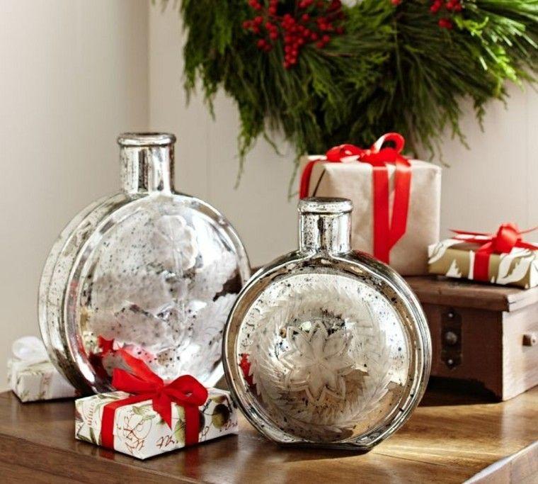 diseño adornos navideños plateado madera corona