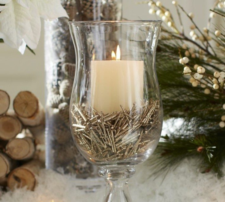 diseño adornos navideños tronco vajilla vidrio