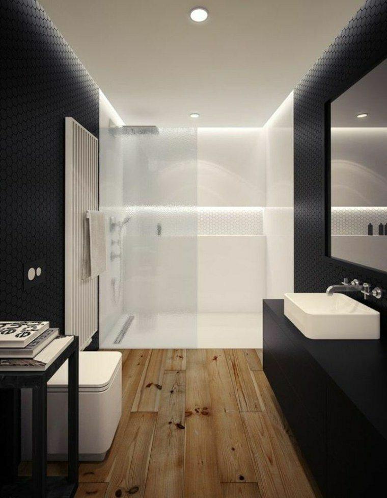 Negro gris y marr n en el cuarto de ba o 50 dise os - Bano de color natural ...