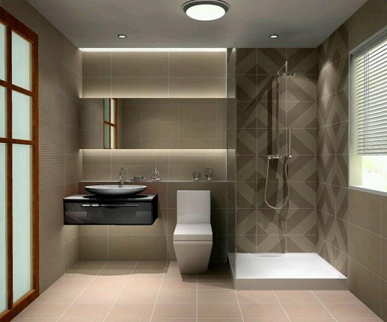 diseño cuarto baño azulejos marrones