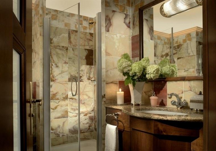 diseño baño rustico madera piedra