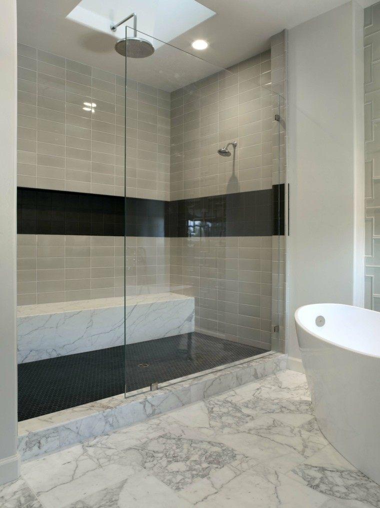 diseño baños modernos con ducha suelo marmol